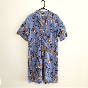 Who what wear striped blue floral shirt dress work